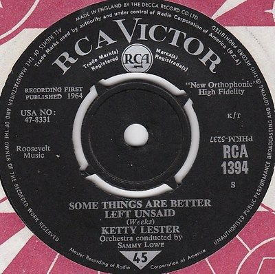 Ketty Lester - Some Things Are Better Left Unsaid / The House Is Haunted